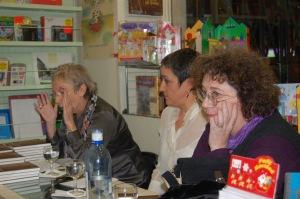 Aranguren, Paqué y la editora Carola Moreno